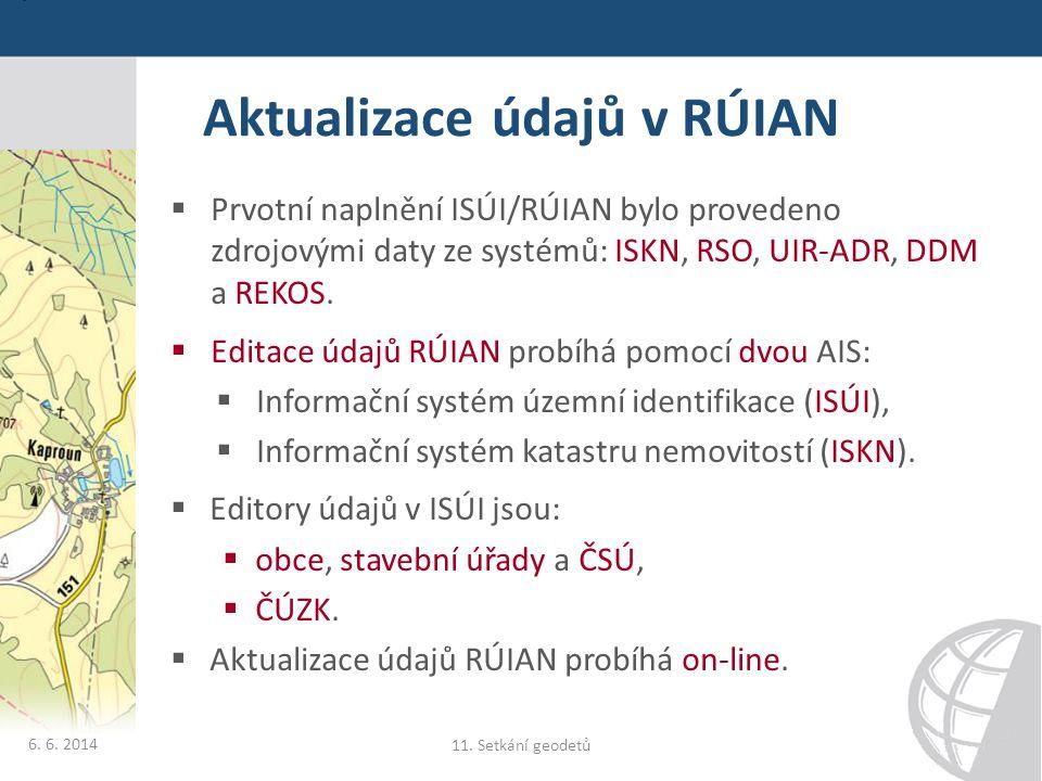 Aktualizace údajů v RÚIAN  Prvotní naplnění ISÚI/RÚIAN bylo provedeno zdrojovými daty ze systémů: ISKN, RSO, UIR-ADR, DDM a REKOS.  Editace údajů RÚ