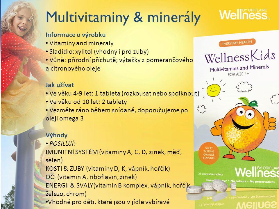 Multivitaminy & minerály Informace o výrobku Vitaminy and mineraly Sladidlo: xylitol (vhodný i pro zuby) Vůně: přírodní příchutě; výtažky z pomerančového a citronového oleje Jak užívat Ve věku 4-9 let: 1 tableta (rozkousat nebo spolknout) Ve věku od 10 let: 2 tablety Vezměte ráno během snídaně, doporučujeme po oleji omega 3 Výhody POSILUJÍ: IMUNITNÍ SYSTÉM (vitaminy A, C, D, zinek, měď, selen) KOSTI & ZUBY (vitaminy D, K, vápník, hořčík) OČI (vitamin A, riboflavin, zinek) ENERGII & SVALY(vitamin B komplex, vápník, hořčík, železo, chrom) Vhodné pro děti, které jsou v jídle vybíravé