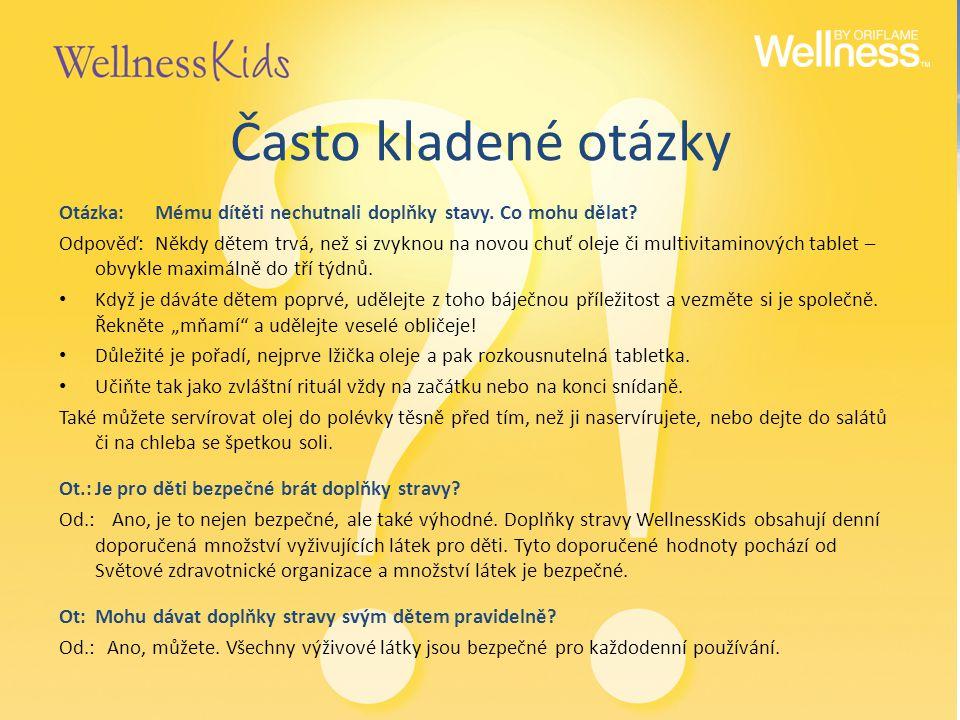 Často kladené otázky Otázka:Mému dítěti nechutnali doplňky stavy. Co mohu dělat? Odpověď:Někdy dětem trvá, než si zvyknou na novou chuť oleje či multi