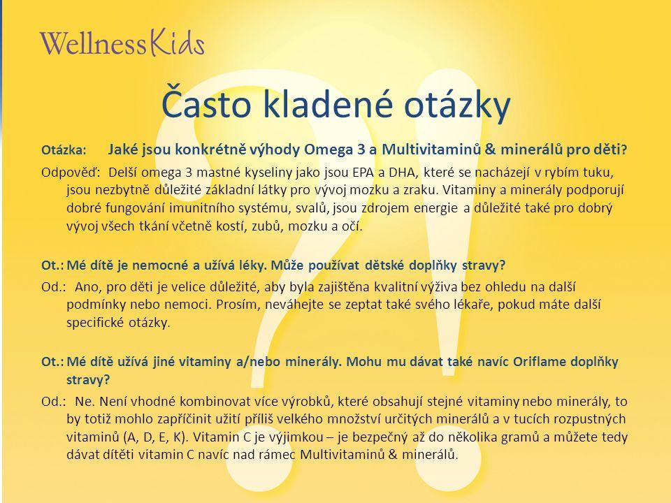 Často kladené otázky Otázka: Jaké jsou konkrétně výhody Omega 3 a Multivitaminů & minerálů pro děti ? Odpověď: Delší omega 3 mastné kyseliny jako jsou