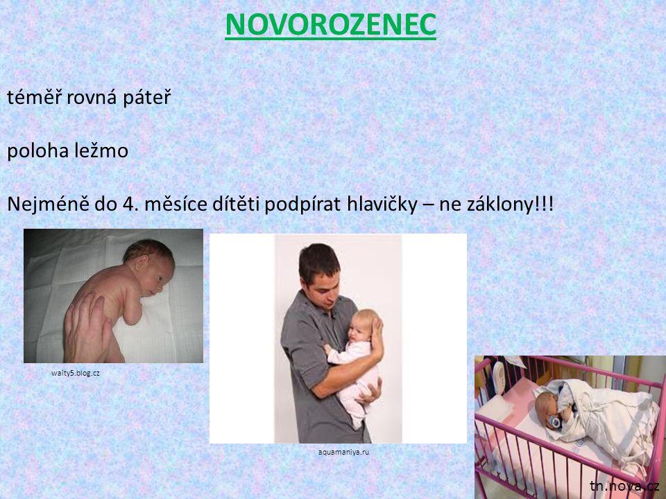 NOVOROZENEC téměř rovná páteř poloha ležmo Nejméně do 4. měsíce dítěti podpírat hlavičky – ne záklony!!! tn.nova.cz waity5.blog.cz aquamaniya.ru