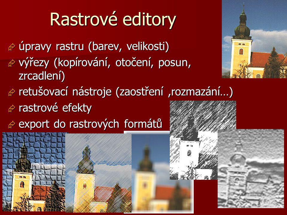 Základy počítačové grafiky, Helena Novotná, podzim 2013 12 Rastrové editory  úpravy rastru (barev, velikosti)  výřezy (kopírování, otočení, posun, z