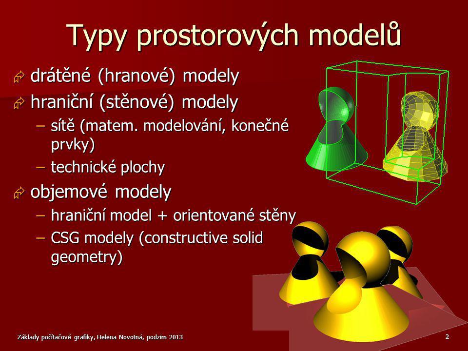 Základy počítačové grafiky, Helena Novotná, podzim 2013 2 Typy prostorových modelů  drátěné (hranové) modely  hraniční (stěnové) modely –sítě (matem