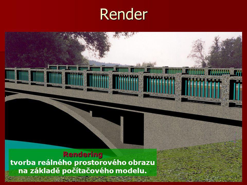 Základy počítačové grafiky, Helena Novotná, podzim 2013 20 Render Rendering Rendering tvorba reálného prostorového obrazu na základě počítačového mode