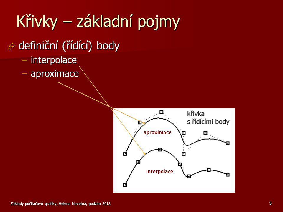 Základy počítačové grafiky, Helena Novotná, podzim 2013 5 Křivky – základní pojmy  definiční (řídící) body –interpolace –aproximace aproximace interp