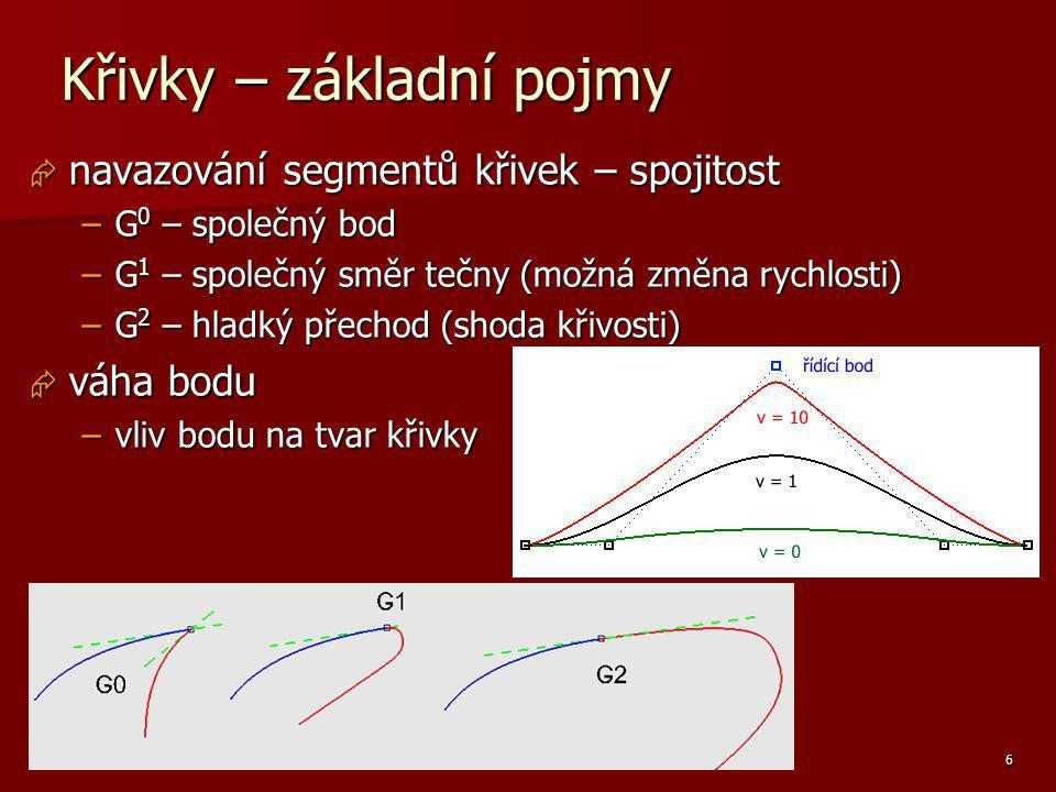 Základy počítačové grafiky, Helena Novotná, podzim 2013 6 Křivky – základní pojmy  navazování segmentů křivek – spojitost –G 0 – společný bod –G 1 –