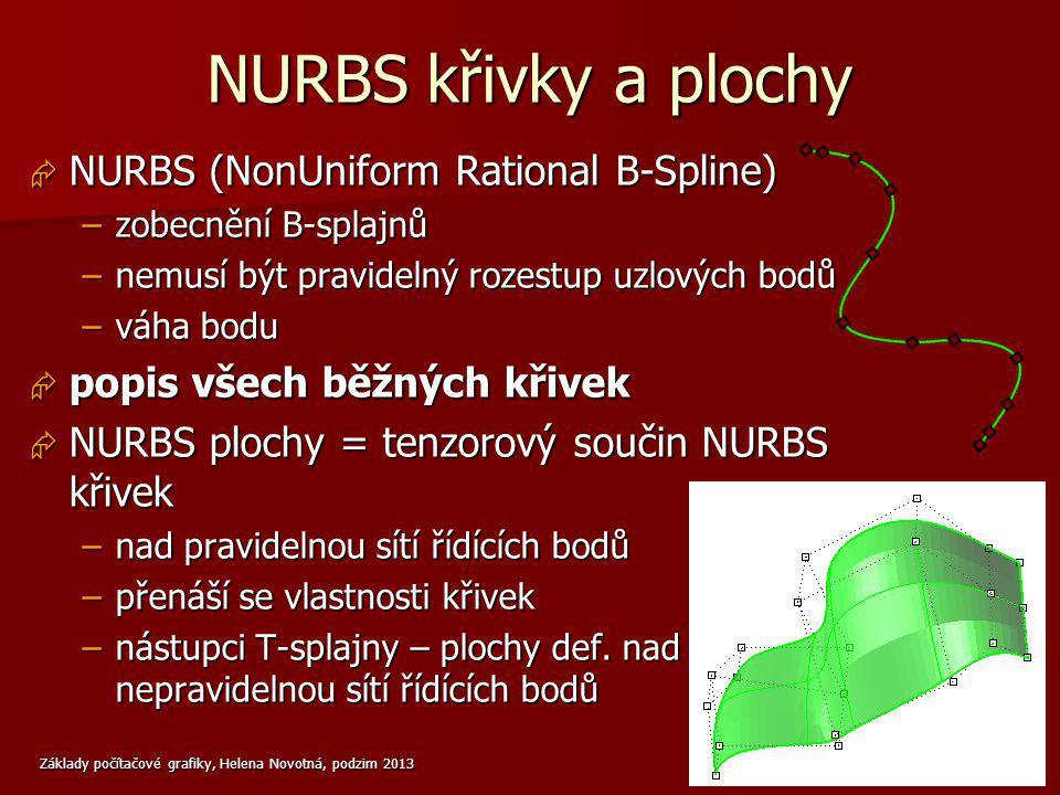 Základy počítačové grafiky, Helena Novotná, podzim 2013 8 NURBS křivky a plochy  NURBS (NonUniform Rational B-Spline) –zobecnění B-splajnů –nemusí bý