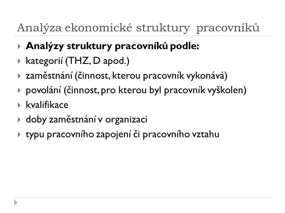 Analýza ekonomické struktury pracovníků  Analýzy struktury pracovníků podle:  kategorií (THZ, D apod.)  zaměstnání (činnost, kterou pracovník vykon