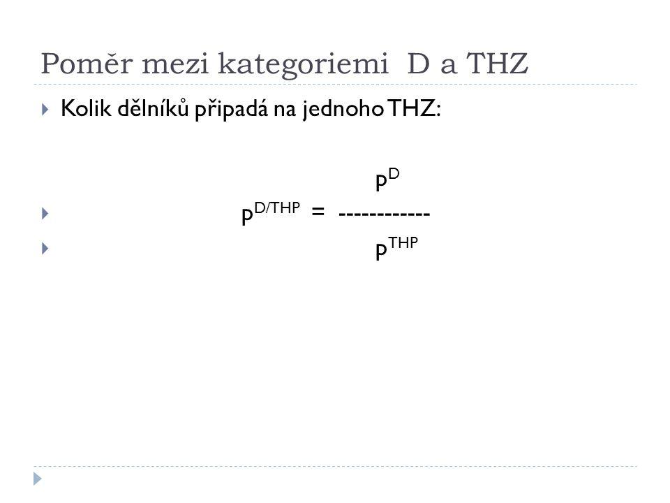 Poměr mezi kategoriemi D a THZ  Kolik dělníků připadá na jednoho THZ: p D  p D/THP = ------------  p THP