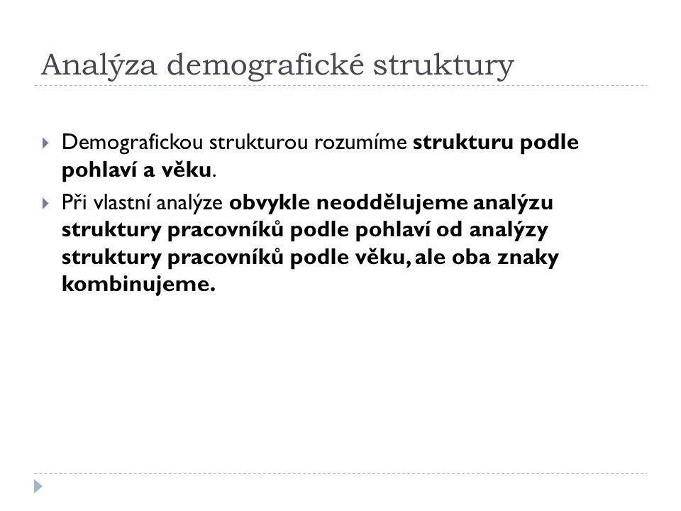 Analýza demografické struktury  Demografickou strukturou rozumíme strukturu podle pohlaví a věku.  Při vlastní analýze obvykle neoddělujeme analýzu