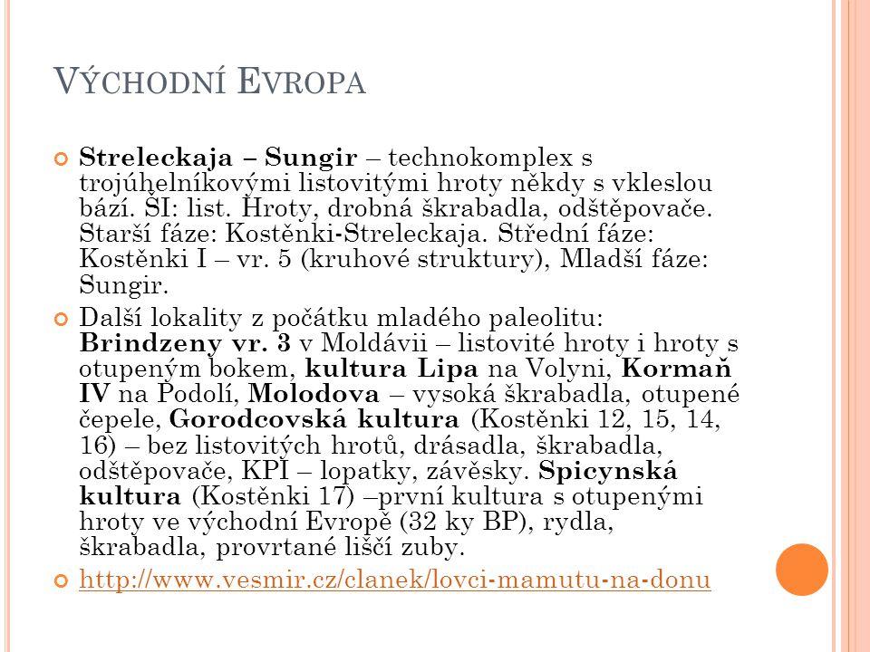 V ÝCHODNÍ E VROPA Streleckaja – Sungir – technokomplex s trojúhelníkovými listovitými hroty někdy s vkleslou bází. ŠI: list. Hroty, drobná škrabadla,
