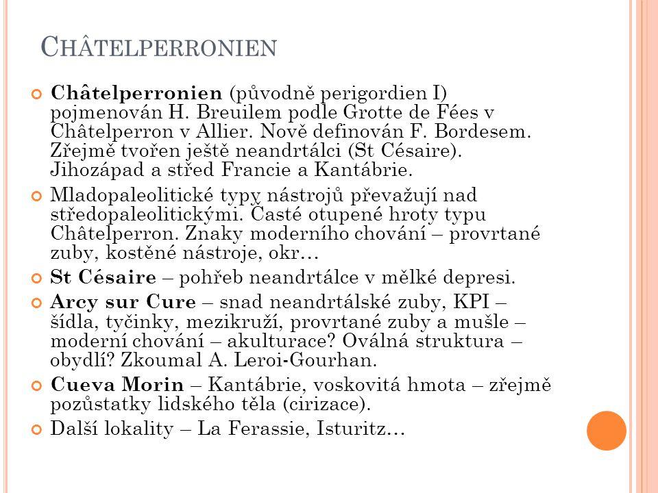 C HÂTELPERRONIEN Châtelperronien (původně perigordien I) pojmenován H. Breuilem podle Grotte de Fées v Châtelperron v Allier. Nově definován F. Bordes