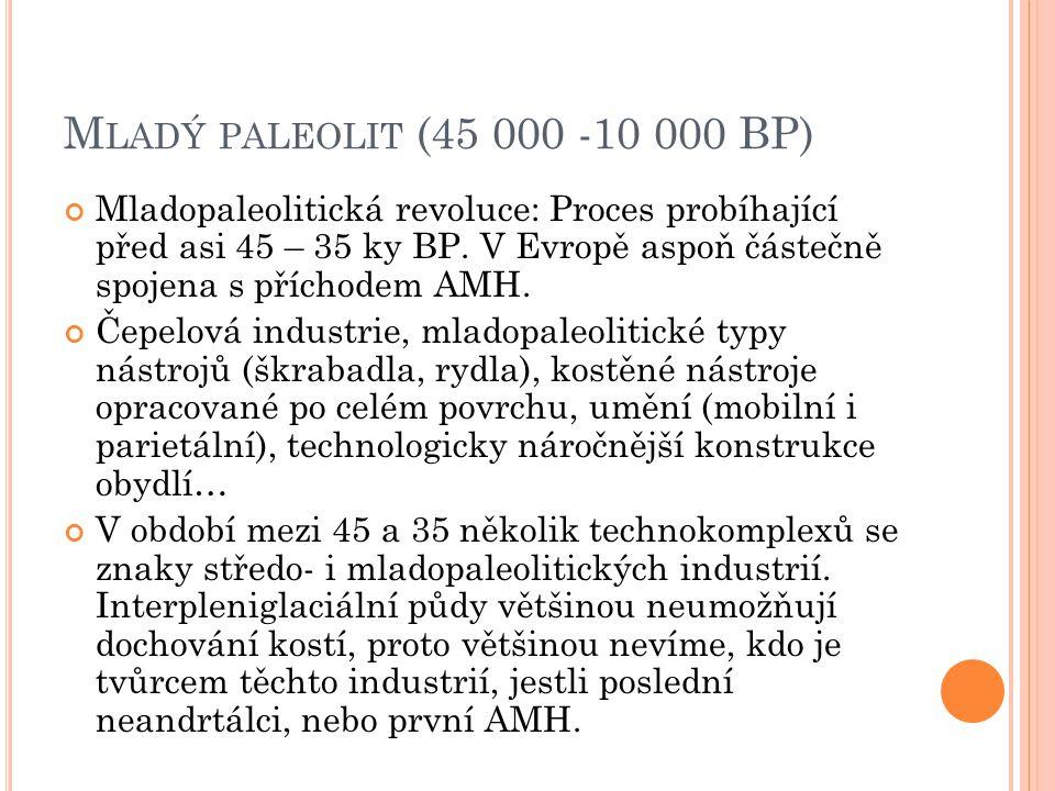 M LADÝ PALEOLIT (45 000 -10 000 BP) Mladopaleolitická revoluce: Proces probíhající před asi 45 – 35 ky BP. V Evropě aspoň částečně spojena s příchodem