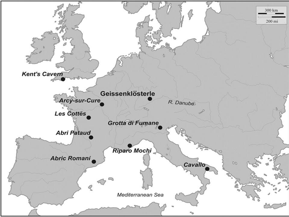 E MIRIEN, B OHUNICIEN V době před ca 47-37 ky BP se na velkém území objevují industrie, ve kterých se spojuje středopaleolitická levalloiská technika s mladopaleolitickou čepelovou technikou v koncepční fúzi – leptolevalloiské industrie (IUP- T.