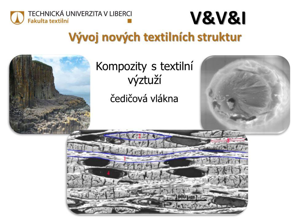 Kompozity s textilní výztuží čedičová vlákna V&V&IV&V&IV&V&IV&V&I Vývoj nových textilních struktur