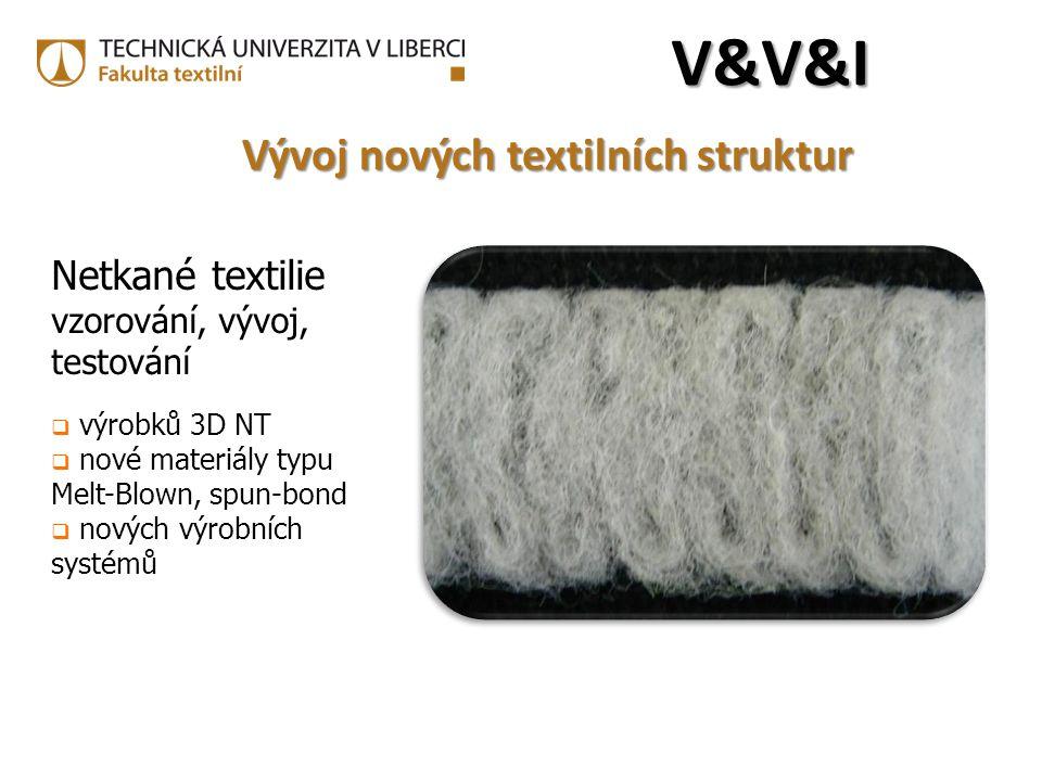 Netkané textilie vzorování, vývoj, testování  výrobků 3D NT  nové materiály typu Melt-Blown, spun-bond  nových výrobních systémů V&V&IV&V&IV&V&IV&V