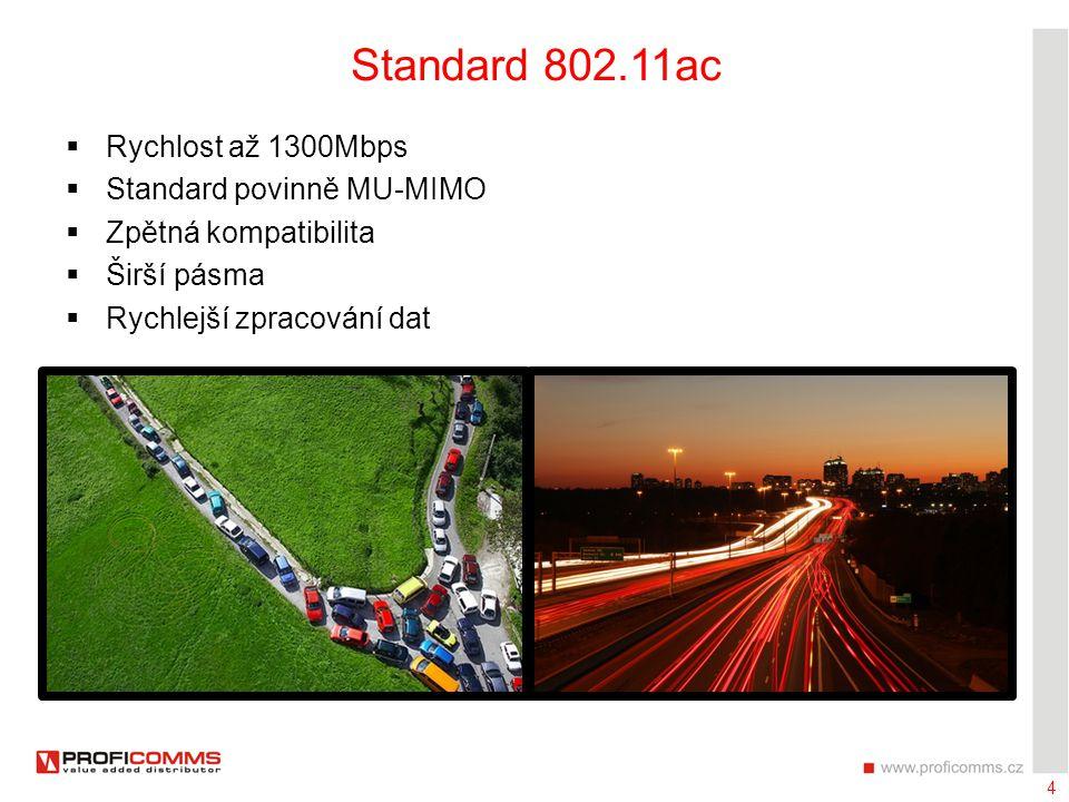 4 Standard 802.11ac  Rychlost až 1300Mbps  Standard povinně MU-MIMO  Zpětná kompatibilita  Širší pásma  Rychlejší zpracování dat