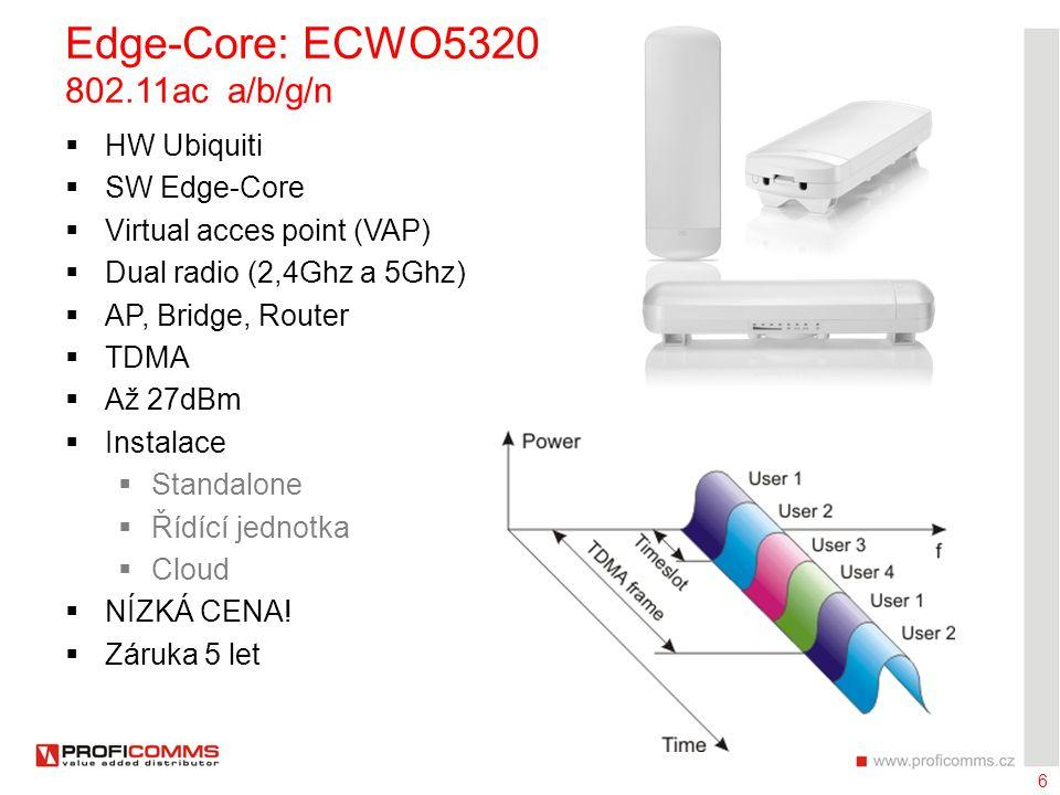 7 Edge-Core: ECW5320 802.11ac a/b/g/n  HW Aruba  SW Edge-Core  Všesměrová anténa  5 segmentů  Automatický výběr kanálu  Realtek 2x2 (TDMA)  Atheros 3x3  CENA.