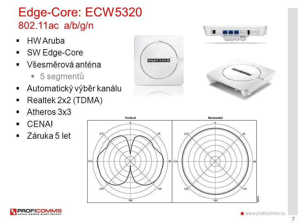 7 Edge-Core: ECW5320 802.11ac a/b/g/n  HW Aruba  SW Edge-Core  Všesměrová anténa  5 segmentů  Automatický výběr kanálu  Realtek 2x2 (TDMA)  Ath