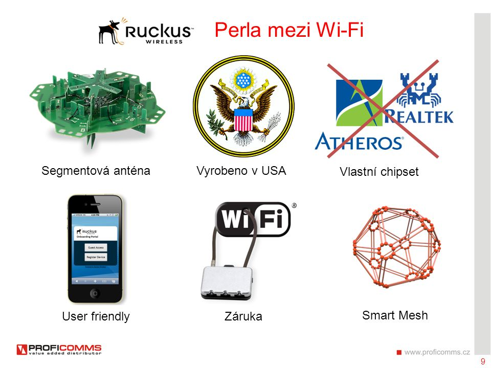 9 Ruckus Perla mezi Wi-Fi Segmentová anténaVyrobeno v USA Vlastní chipset User friendlyZáruka Smart Mesh