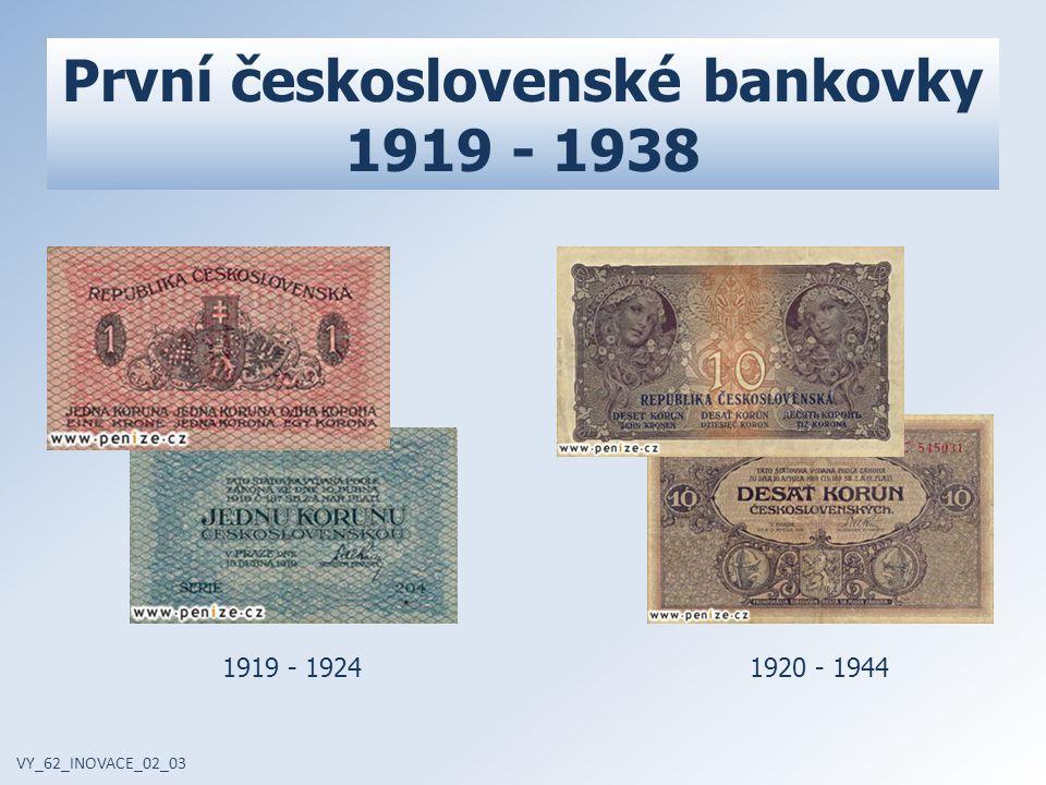 VY_62_INOVACE_02_03 1953 - 1963 1986 - 1993 Vývoj desetikoruny 1961 - 1988