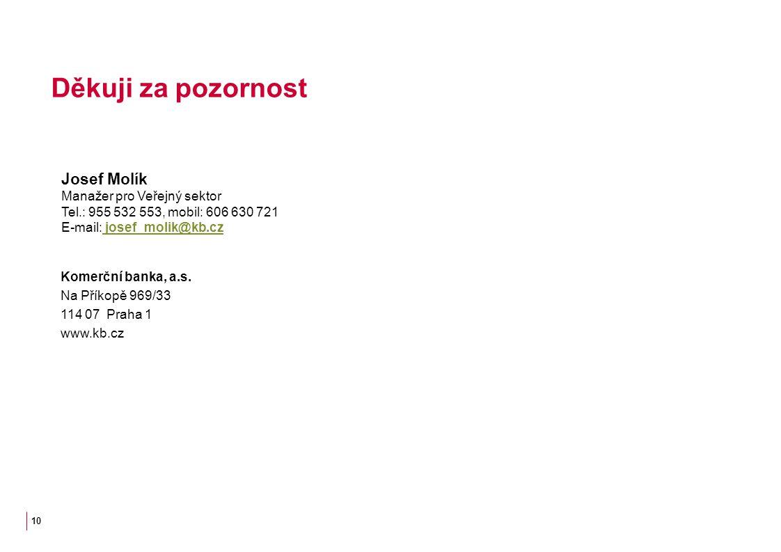 10 Josef Molík Manažer pro Veřejný sektor Tel.: 955 532 553, mobil: 606 630 721 E-mail: josef_molik@kb.cz josef_molik@kb.cz Děkuji za pozornost Komerč
