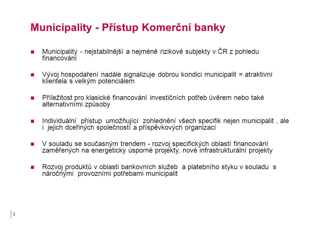 3 Municipality - Přístup Komerční banky Municipality - nejstabilnější a nejméně rizikové subjekty v ČR z pohledu financování Vývoj hospodaření nadále