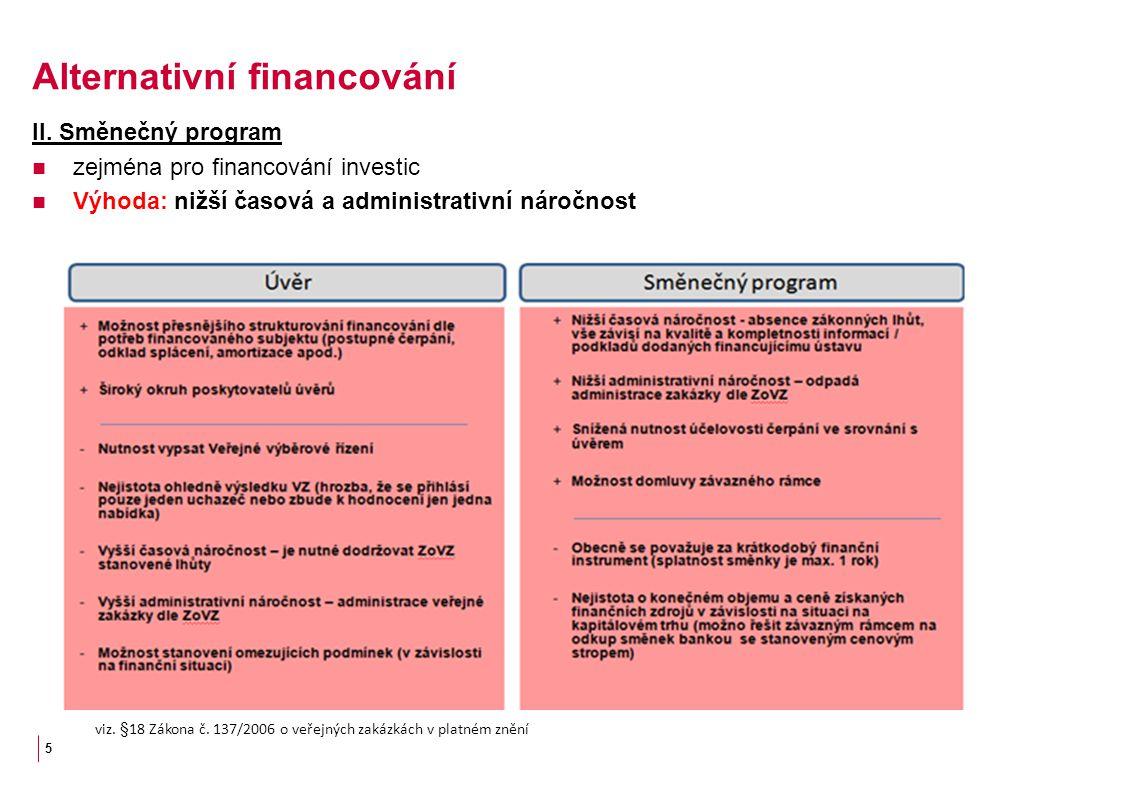 II. Směnečný program zejména pro financování investic Výhoda: nižší časová a administrativní náročnost 5 viz. §18 Zákona č. 137/2006 o veřejných zakáz