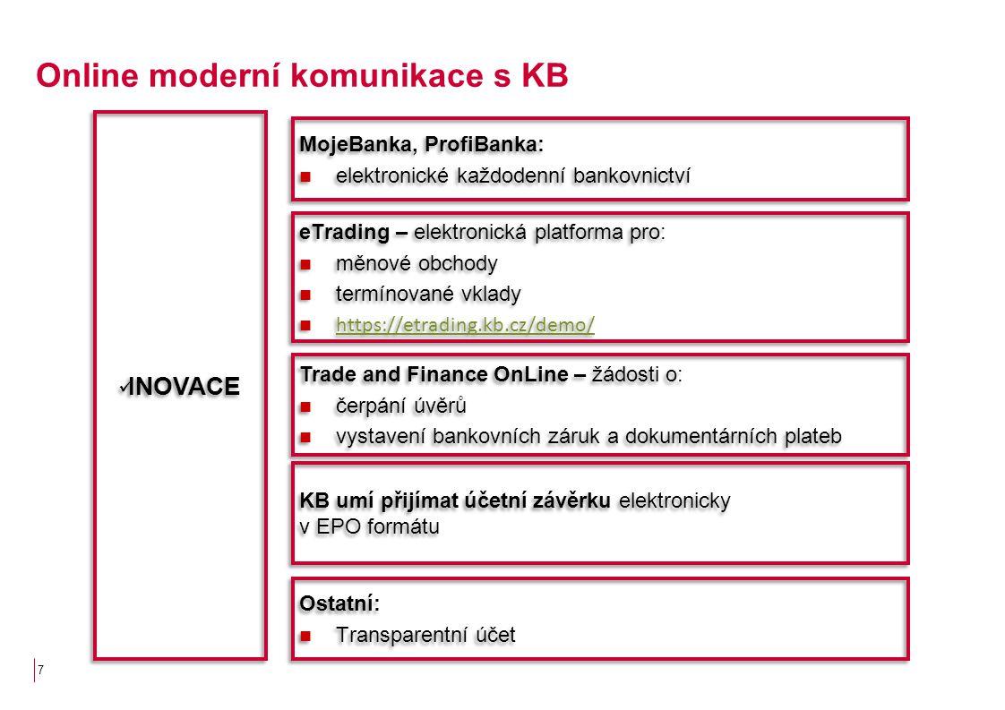 7 Online moderní komunikace s KB MojeBanka, ProfiBanka: elektronické každodenní bankovnictví MojeBanka, ProfiBanka: elektronické každodenní bankovnict