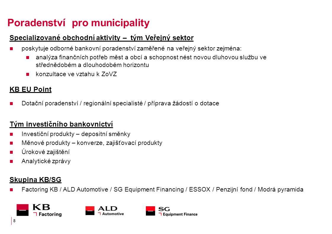 Poradenství pro municipality Specializované obchodní aktivity – tým Veřejný sektor poskytuje odborné bankovní poradenství zaměřené na veřejný sektor z