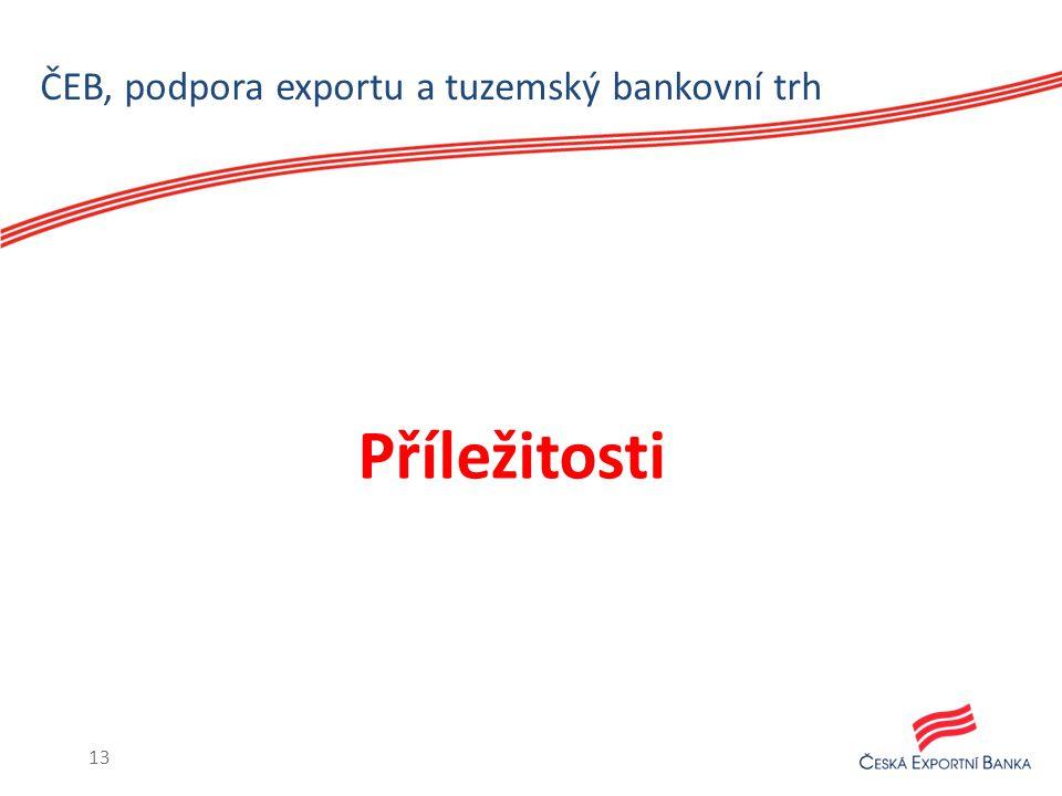 ČEB, podpora exportu a tuzemský bankovní trh Příležitosti 13