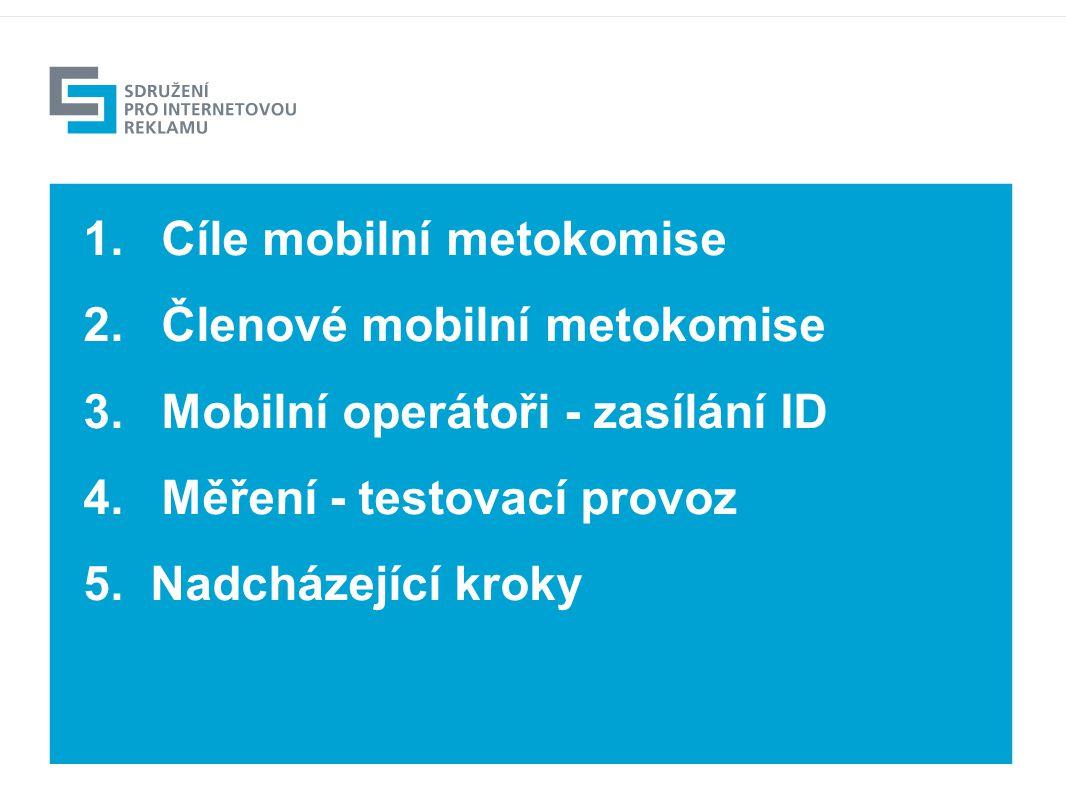 1.Cíle mobilní metokomise 2.Členové mobilní metokomise 3.Mobilní operátoři - zasílání ID 4.Měření - testovací provoz 5.