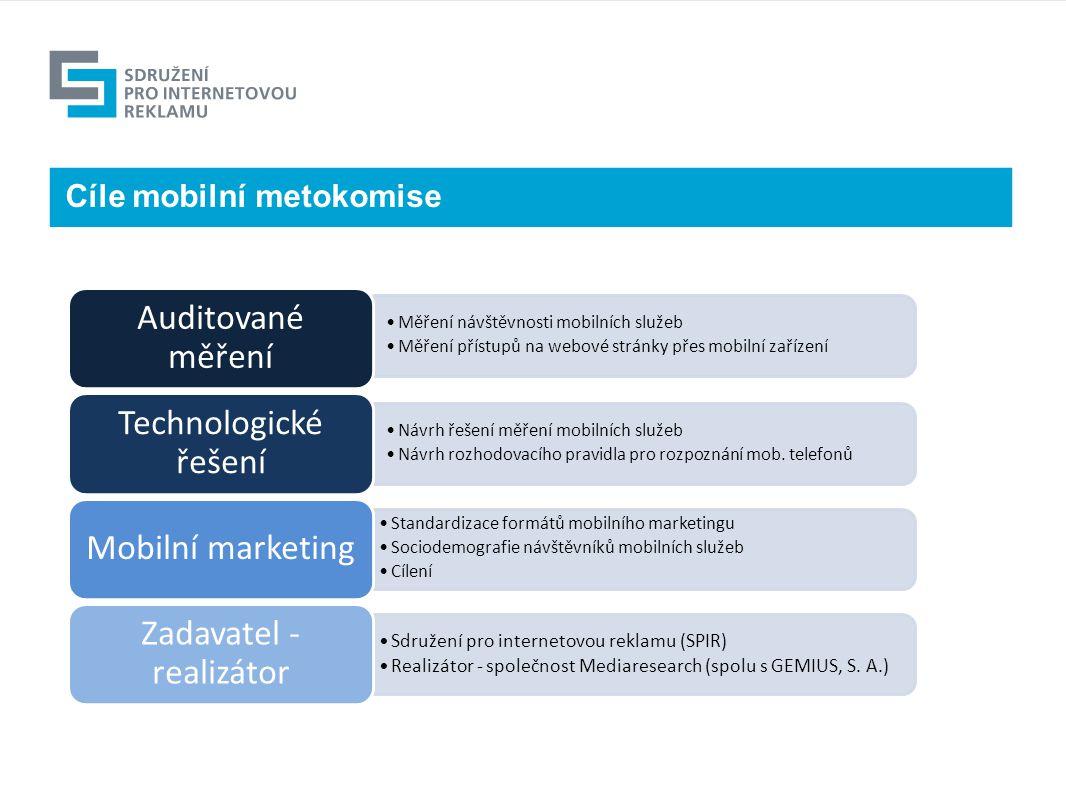 Cíle mobilní metokomise Měření návštěvnosti mobilních služeb Měření přístupů na webové stránky přes mobilní zařízení Auditované měření Návrh řešení měření mobilních služeb Návrh rozhodovacího pravidla pro rozpoznání mob.
