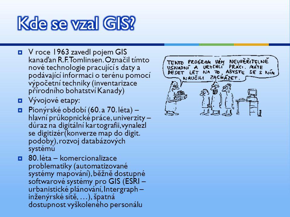  V roce 1963 zavedl pojem GIS kanaďan R.F.Tomlinsen. Označil tímto nové technologie pracující s daty a podávající informaci o terénu pomocí výpočetní