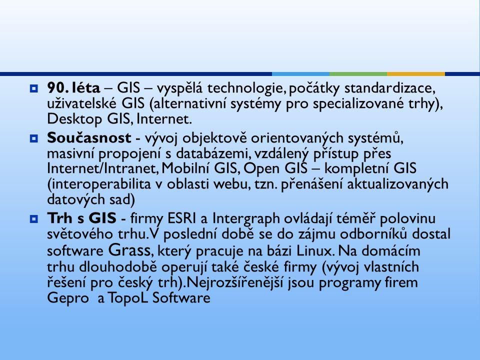  90. léta – GIS – vyspělá technologie, počátky standardizace, uživatelské GIS (alternativní systémy pro specializované trhy), Desktop GIS, Internet.