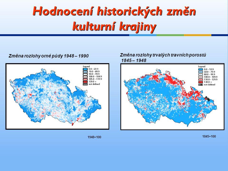 Hodnocení historických změn kulturní krajiny Změna rozlohy orné půdy 1948 – 1990 Změna rozlohy trvalých travních porostů 1845 – 1948 1948=100 1845=100