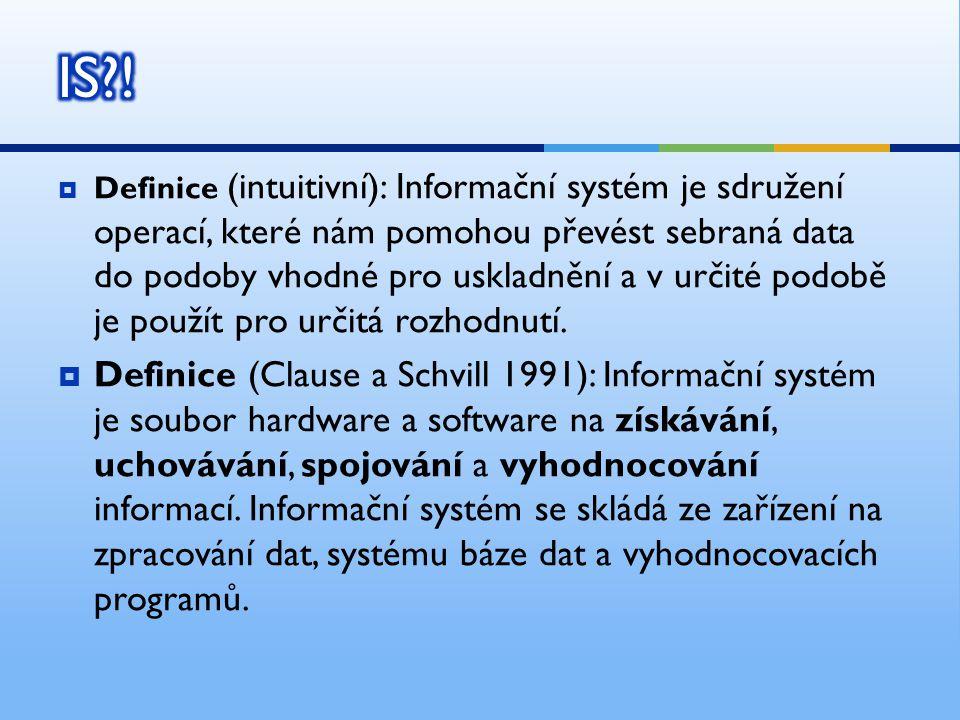  Definice (intuitivní): Informační systém je sdružení operací, které nám pomohou převést sebraná data do podoby vhodné pro uskladnění a v určité podo