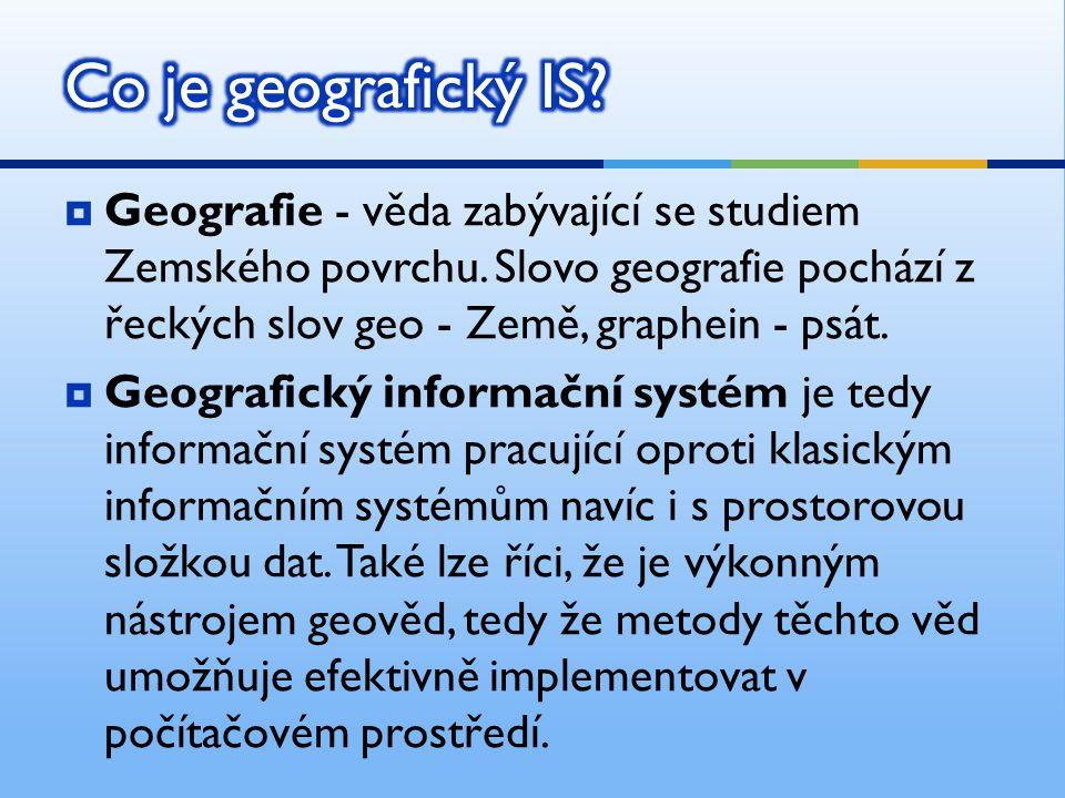  Geografie - věda zabývající se studiem Zemského povrchu. Slovo geografie pochází z řeckých slov geo - Země, graphein - psát.  Geografický informačn