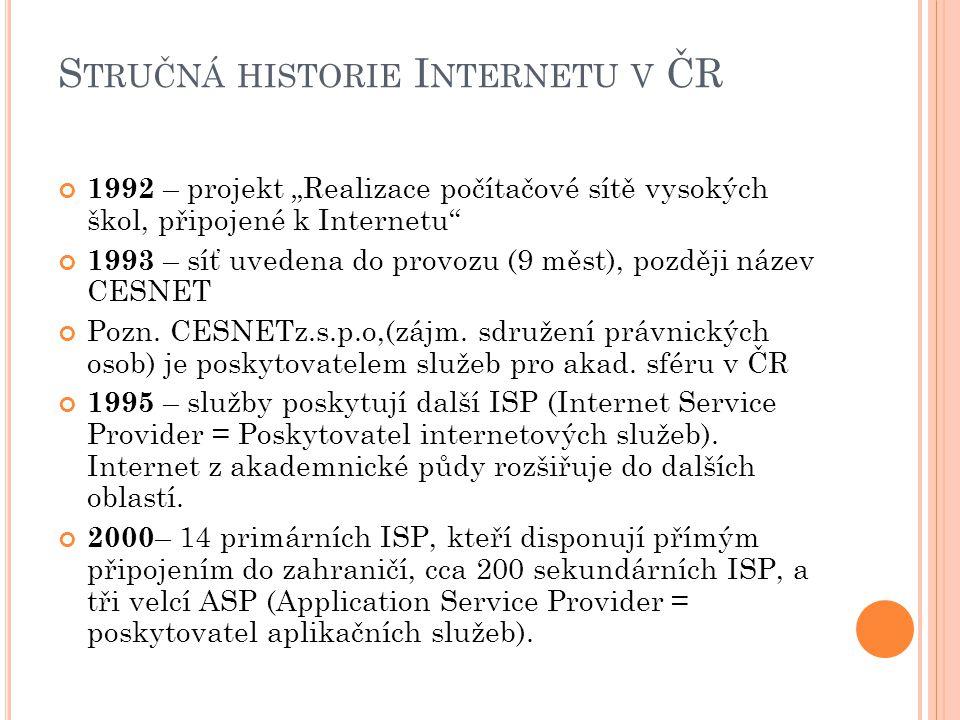 """S TRUČNÁ HISTORIE I NTERNETU V ČR 1992 – projekt """"Realizace počítačové sítě vysokých škol, připojené k Internetu 1993 – síť uvedena do provozu (9 měst), později název CESNET Pozn."""