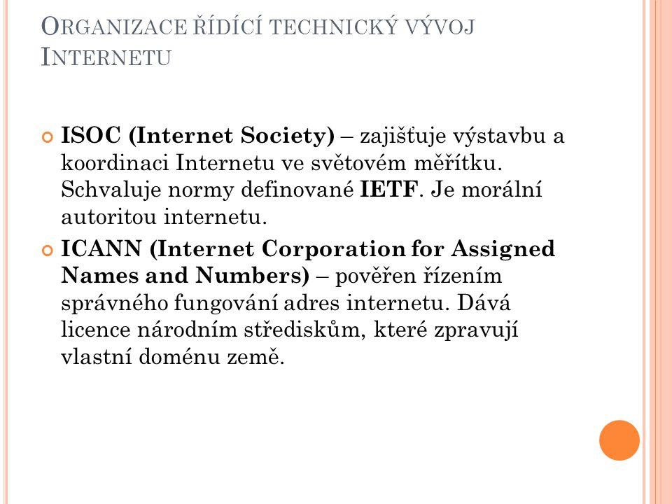 O RGANIZACE ŘÍDÍCÍ TECHNICKÝ VÝVOJ I NTERNETU ISOC (Internet Society) – zajišťuje výstavbu a koordinaci Internetu ve světovém měřítku.