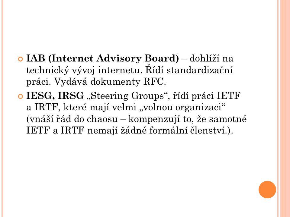 IETF (Internet Engineering Task Force) – stavitelé internetu, členové IETF definují a připravují základní normy, jako protokol Ipv6.