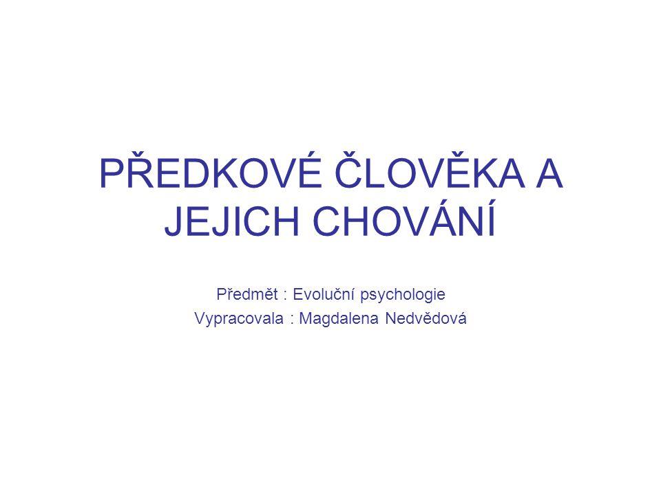 PŘEDKOVÉ ČLOVĚKA A JEJICH CHOVÁNÍ Předmět : Evoluční psychologie Vypracovala : Magdalena Nedvědová