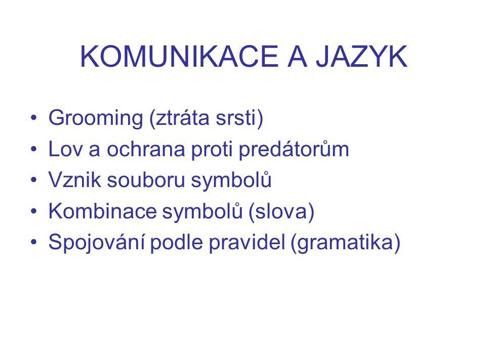 KOMUNIKACE A JAZYK Grooming (ztráta srsti) Lov a ochrana proti predátorům Vznik souboru symbolů Kombinace symbolů (slova) Spojování podle pravidel (gramatika)