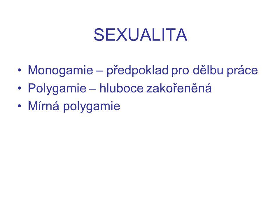 SEXUALITA Monogamie – předpoklad pro dělbu práce Polygamie – hluboce zakořeněná Mírná polygamie