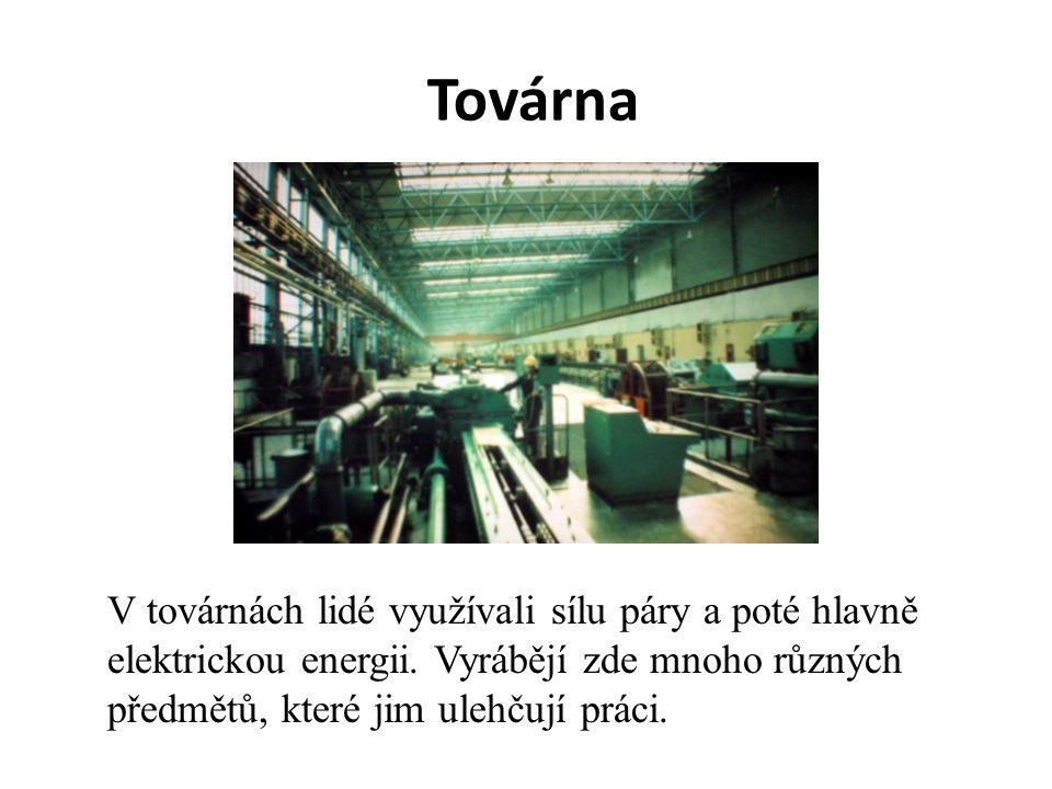 Továrna V továrnách lidé využívali sílu páry a poté hlavně elektrickou energii. Vyrábějí zde mnoho různých předmětů, které jim ulehčují práci.
