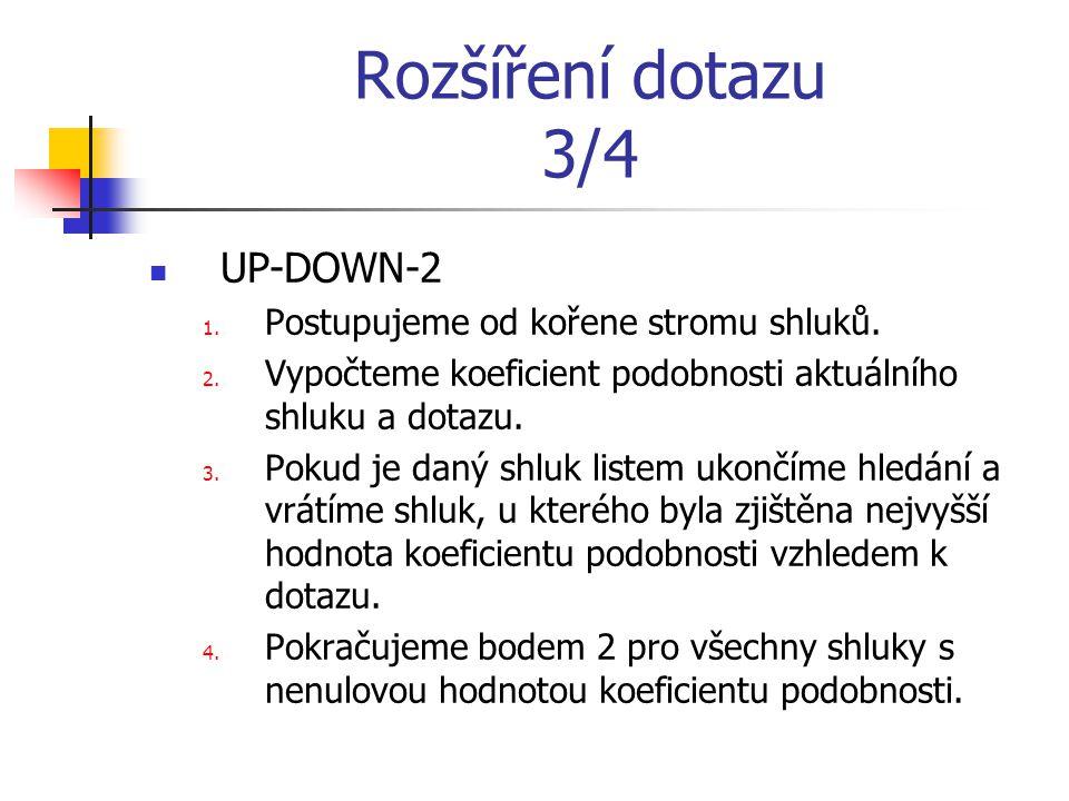 Rozšíření dotazu 3/4 UP-DOWN-2 1. Postupujeme od kořene stromu shluků.