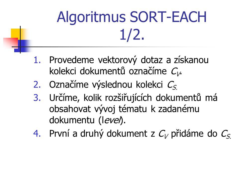 Algoritmus SORT-EACH 1/2. 1.Provedeme vektorový dotaz a získanou kolekci dokumentů označíme C V.