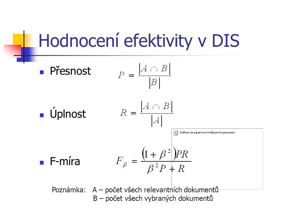Hodnocení efektivity v DIS Přesnost Úplnost F-míra Poznámka: A – počet všech relevantních dokumentů B – počet všech vybraných dokumentů