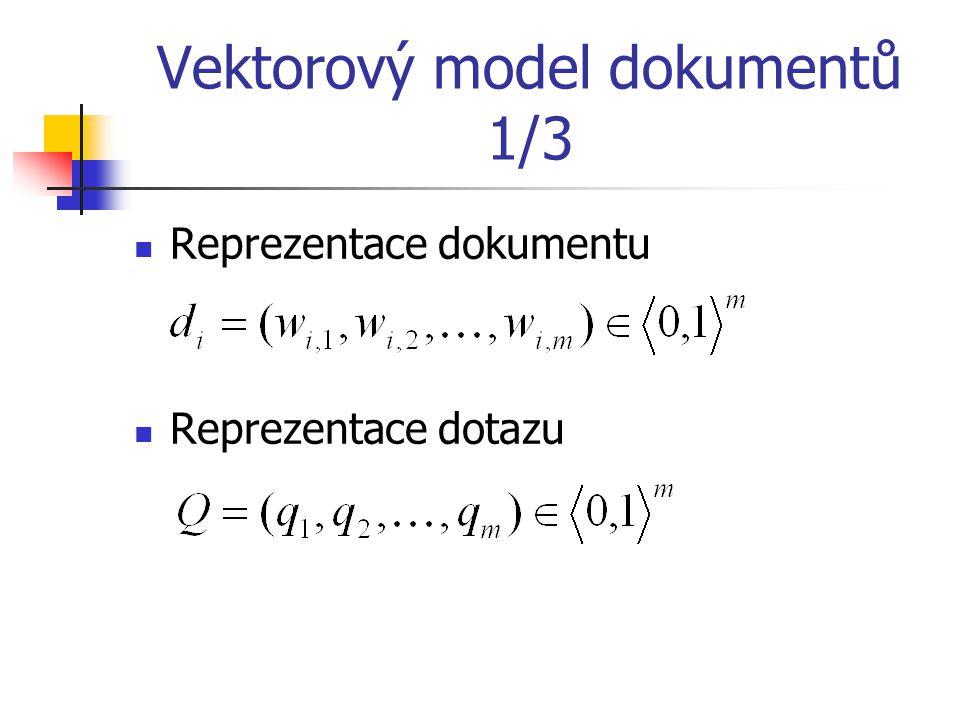 Vektorový model dokumentů 1/3 Reprezentace dokumentu Reprezentace dotazu