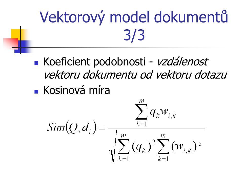 Vektorový model dokumentů 3/3 Koeficient podobnosti - vzdálenost vektoru dokumentu od vektoru dotazu Kosinová míra